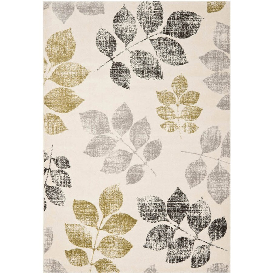 Safavieh Agoro Ivory and Green Rectangular Indoor Machine-Made Area Rug (Common: 4 x 6; Actual: 48-in W x 67-in L x 0.42-ft Dia)