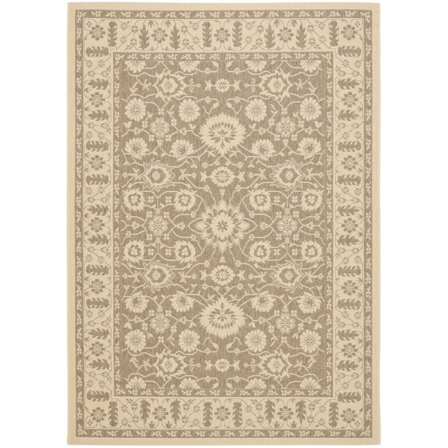 Safavieh Courtyard Brown and Creme Rectangular Indoor and Outdoor Machine-Made Area Rug (Common: 5 x 8; Actual: 63-in W x 91-in L x 0.42-ft Dia)