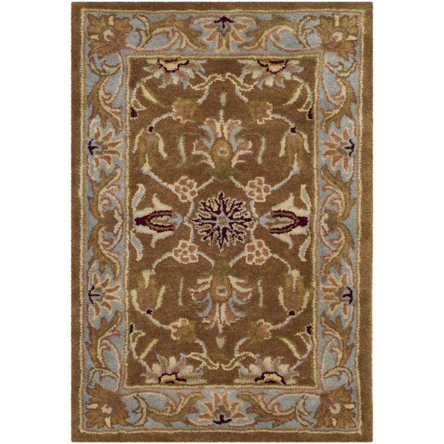 Safavieh Heritage Brown and Blue Rectangular Indoor Tufted Throw Rug (Common: 2 x 4; Actual: 27-in W x 48-in L x 0.33-ft Dia)