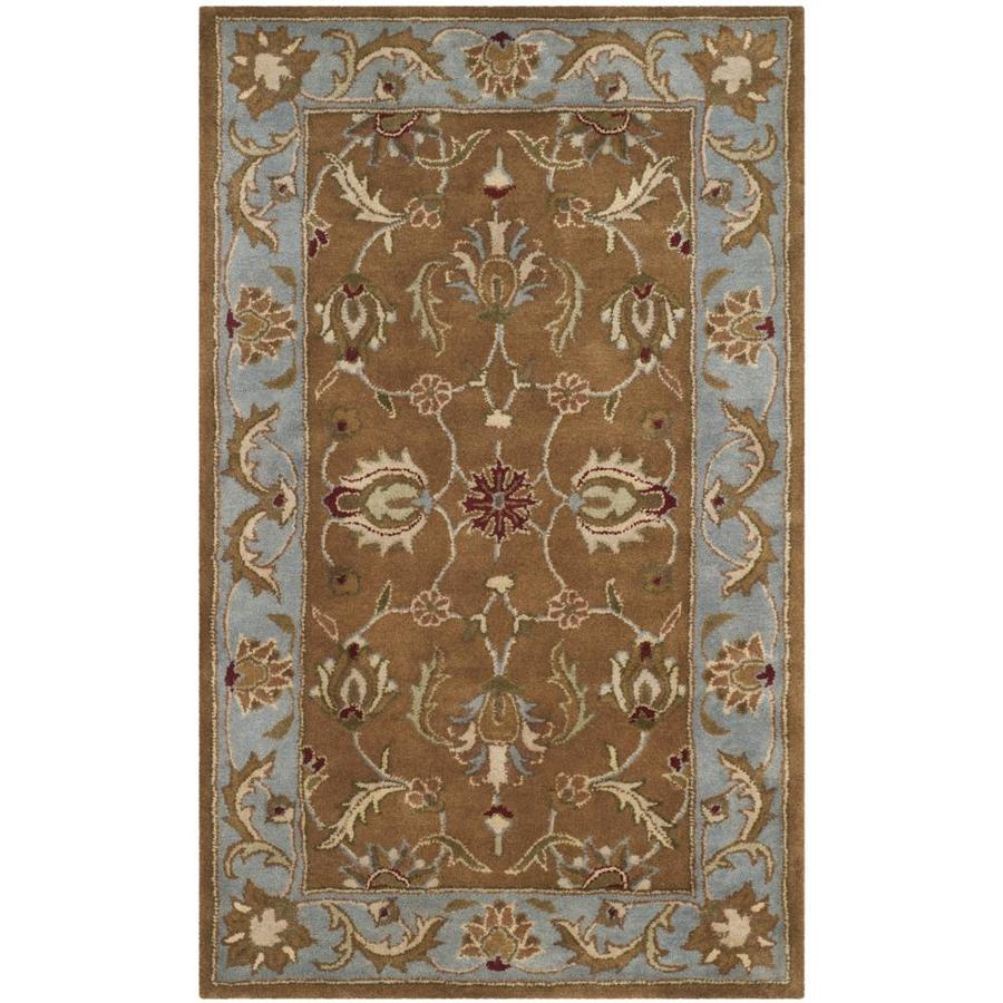 Safavieh Heritage Brown and Blue Rectangular Indoor Tufted Throw Rug (Common: 3 x 5; Actual: 36-in W x 60-in L x 0.5-ft Dia)