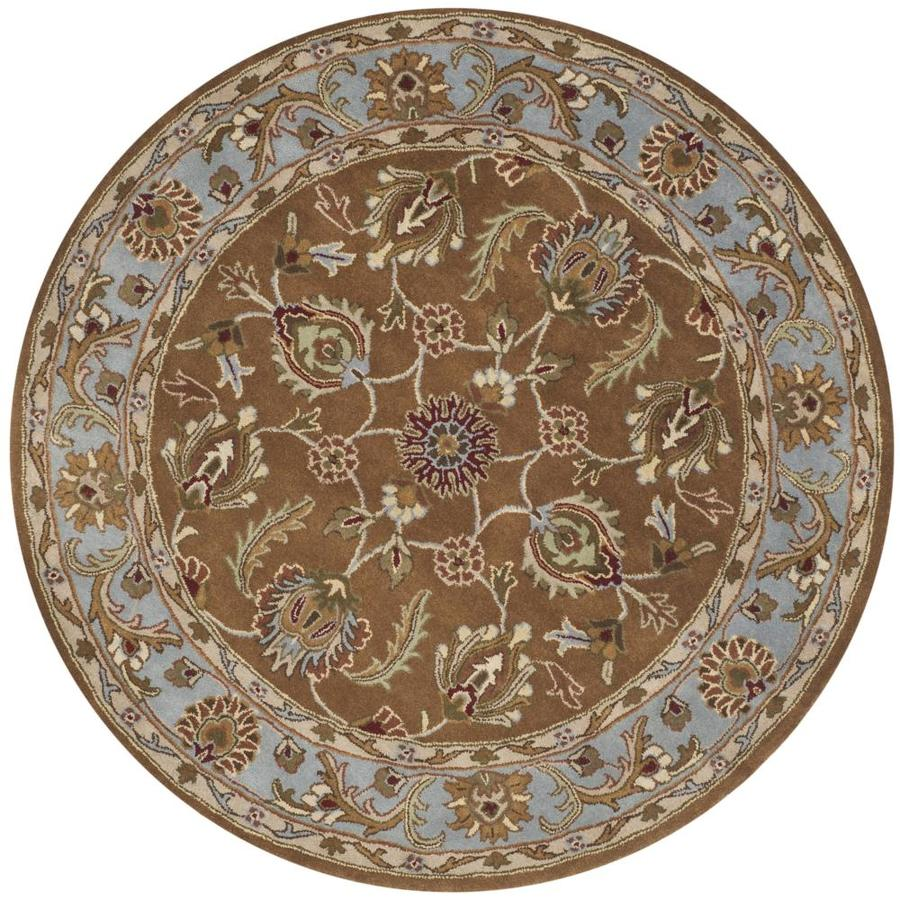 Safavieh Heritage Brown and Blue Round Indoor Tufted Area Rug (Common: 4 x 4; Actual: 42-in W x 42-in L x 0.33-ft Dia)