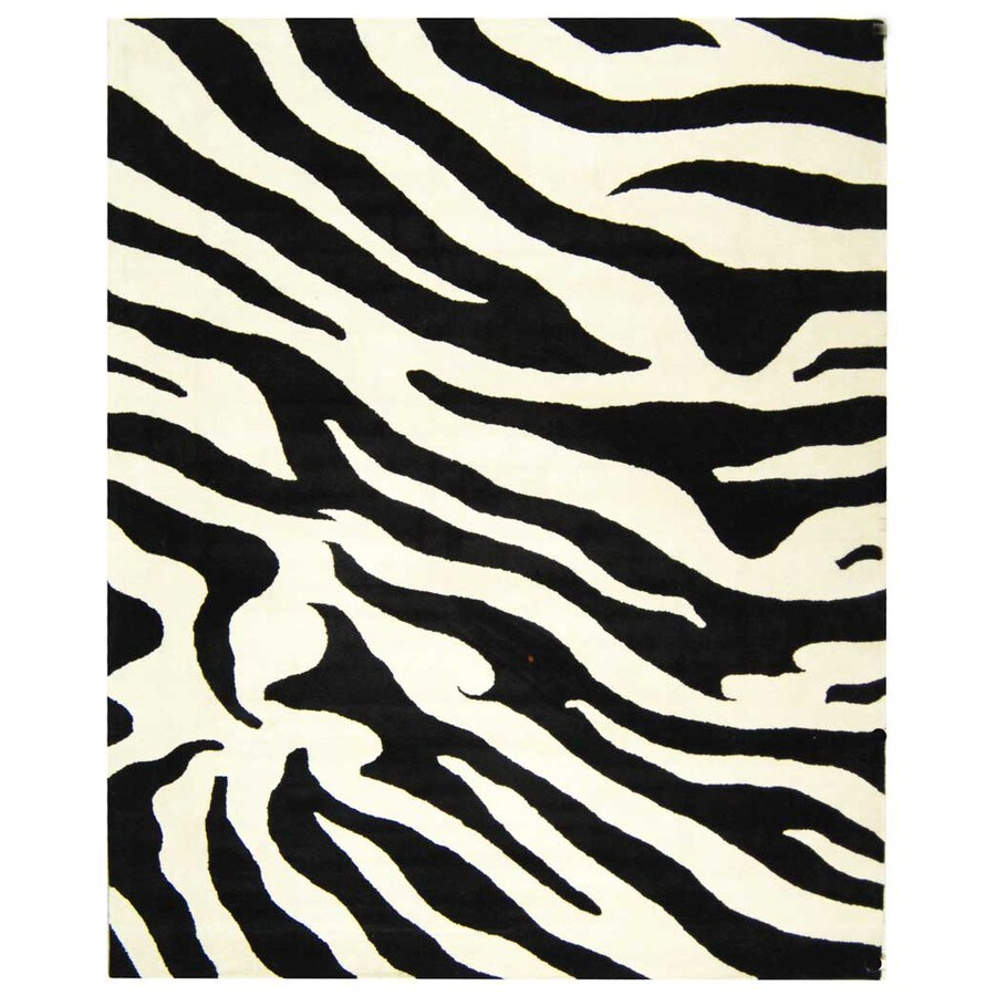 Safavieh Soho White and Black Rectangular Indoor Tufted Throw Rug (Common: 4 x 6; Actual: 42-in W x 66-in L x 0.5-ft Dia)