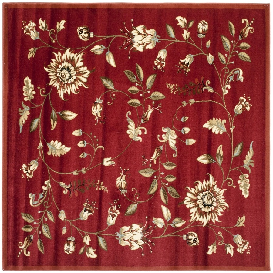 Safavieh Lyndhurst Red and Multicolor Square Indoor Machine-Made Area Rug (Common: 7 x 7; Actual: 79-in W x 79-in L x 0.58-ft Dia)