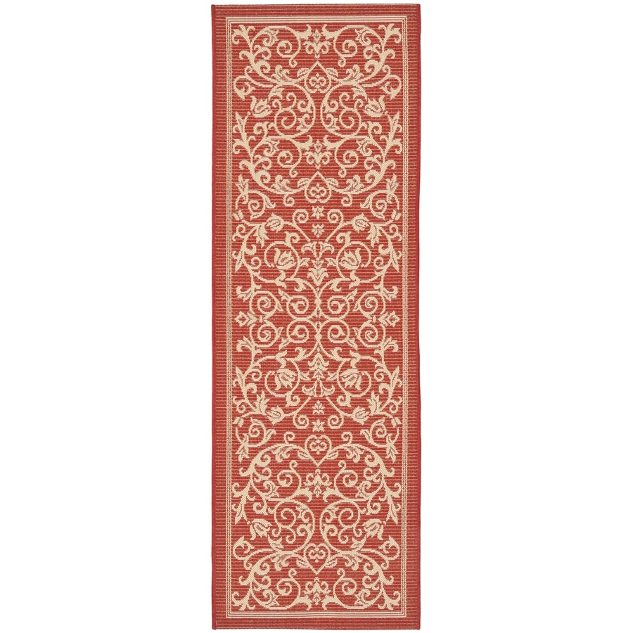 Safavieh Courtyard Red and Natural Rectangular Indoor and Outdoor Machine-Made Runner (Common: 2 x 6; Actual: 28-in W x 79-in L x 0.33-ft Dia)
