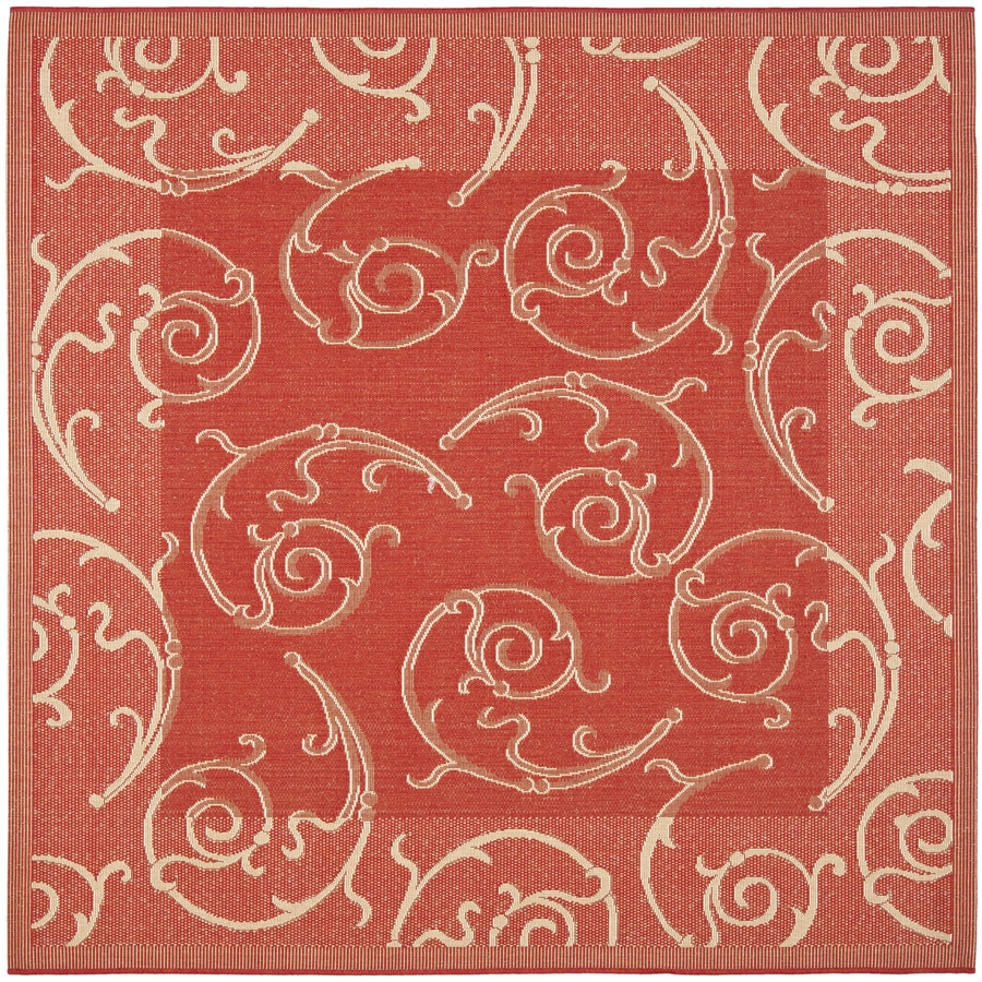 Safavieh Courtyard Red and Natural Square Indoor and Outdoor Machine-Made Area Rug (Common: 7 x 7; Actual: 79-in W x 79-in L x 0.42-ft Dia)