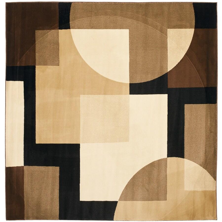 Safavieh Porcello Black and Multicolor Square Indoor Machine-Made Area Rug (Common: 7 x 7; Actual: 84-in W x 84-in L x 0.58-ft Dia)