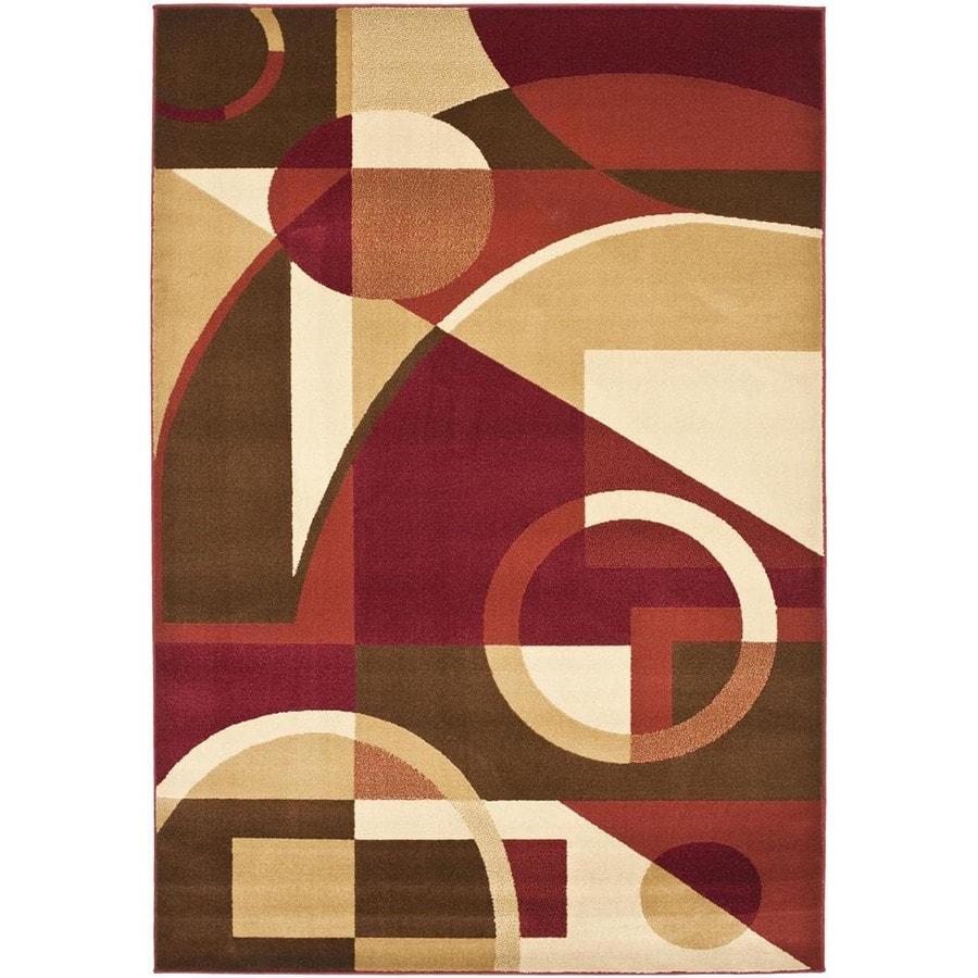 Safavieh Porcello Red and Multicolor Rectangular Indoor Machine-Made Area Rug (Common: 6 x 9; Actual: 79-in W x 114-in L x 0.58-ft Dia)