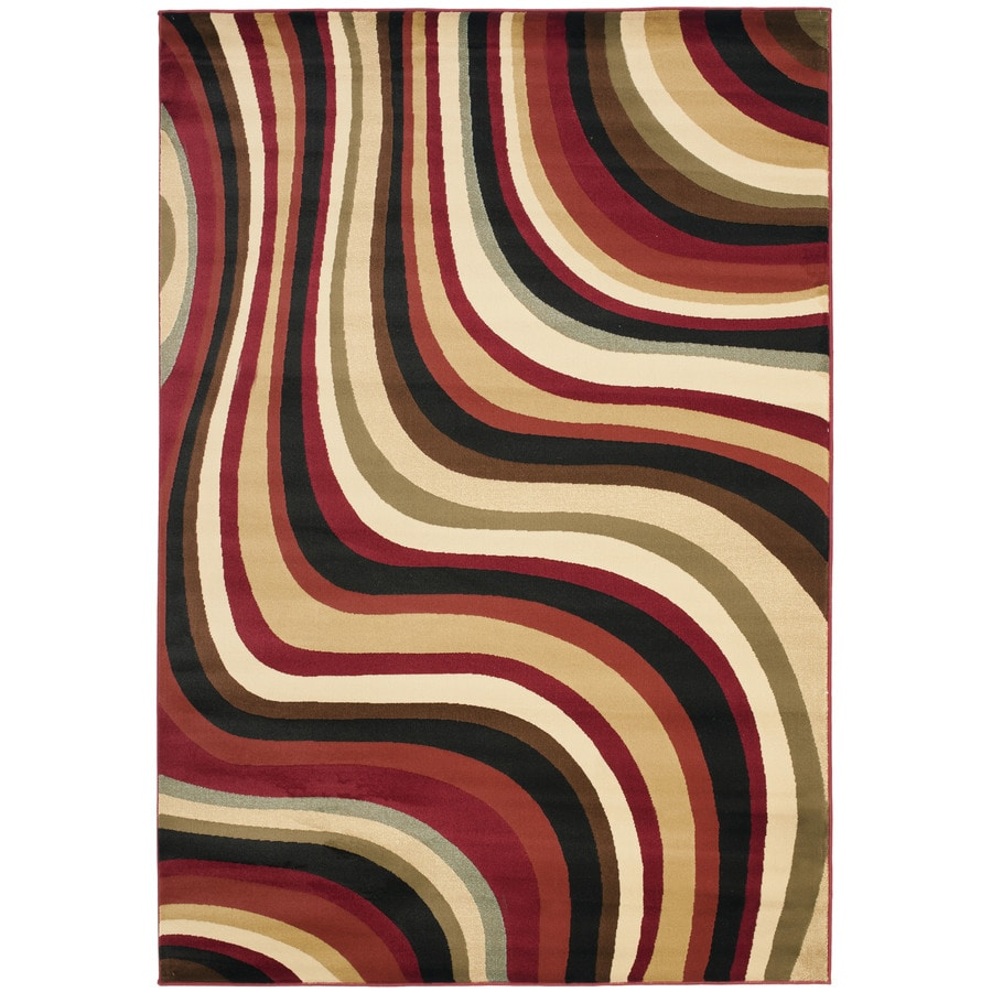 Safavieh Porcello Red and Multicolor Rectangular Indoor Machine-Made Area Rug (Common: 4 x 6; Actual: 48-in W x 67-in L x 0.42-ft Dia)