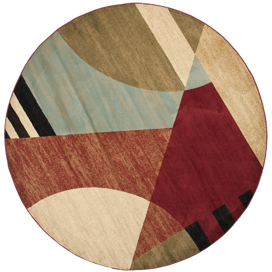 Safavieh Porcello Multicolor Round Indoor Machine-Made Area Rug (Common: 7 x 7; Actual: 84-in W x 84-in L x 0.58-ft Dia)
