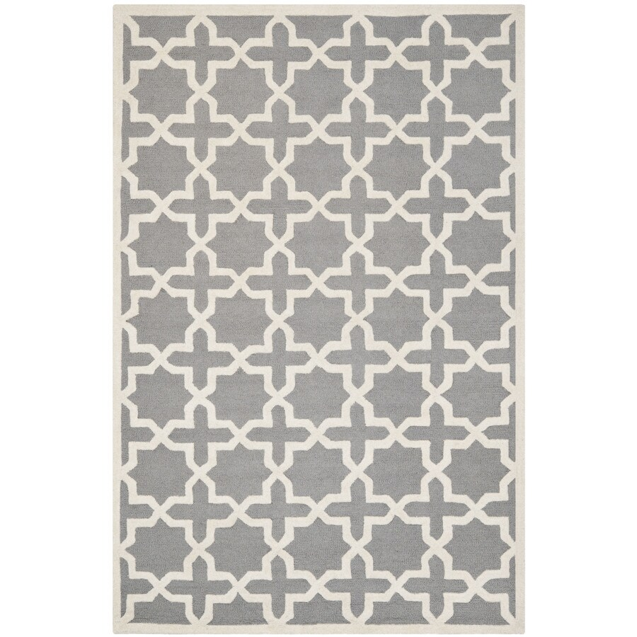 Safavieh Cambridge Rectangular Gray Geometric Tufted Wool Area Rug (Common: 5-ft x 8-ft; Actual: 5-ft x 8-ft)