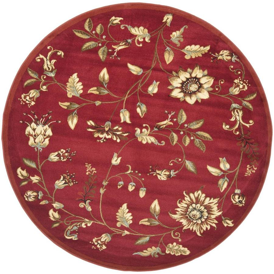 Safavieh Lyndhurst Red and Multicolor Round Indoor Machine-Made Area Rug (Common: 5 x 5; Actual: 63-in W x 63-in L x 0.42-ft Dia)
