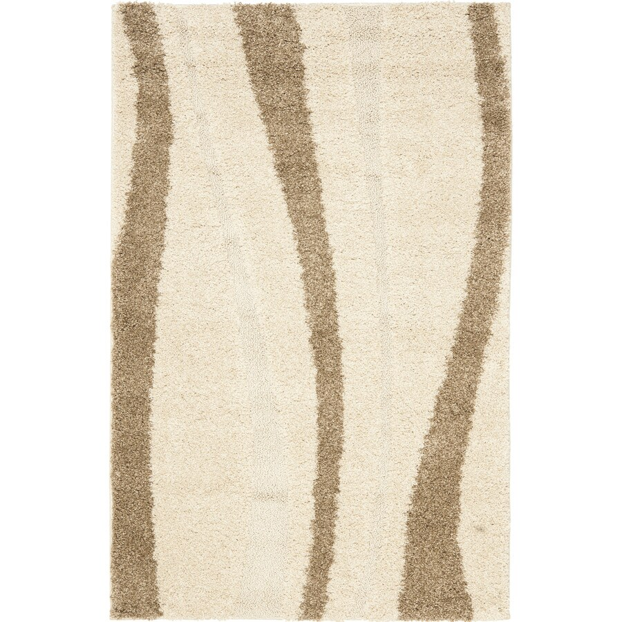 Safavieh Willow Shag Cream/Dark Brown Rectangular Indoor Machine-Made Throw Rug