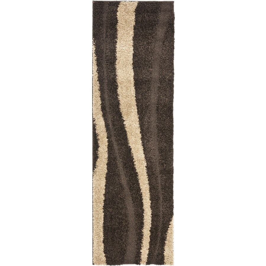 Safavieh Willow Shag Dark Brown/Beige Rectangular Indoor Machine-Made Runner