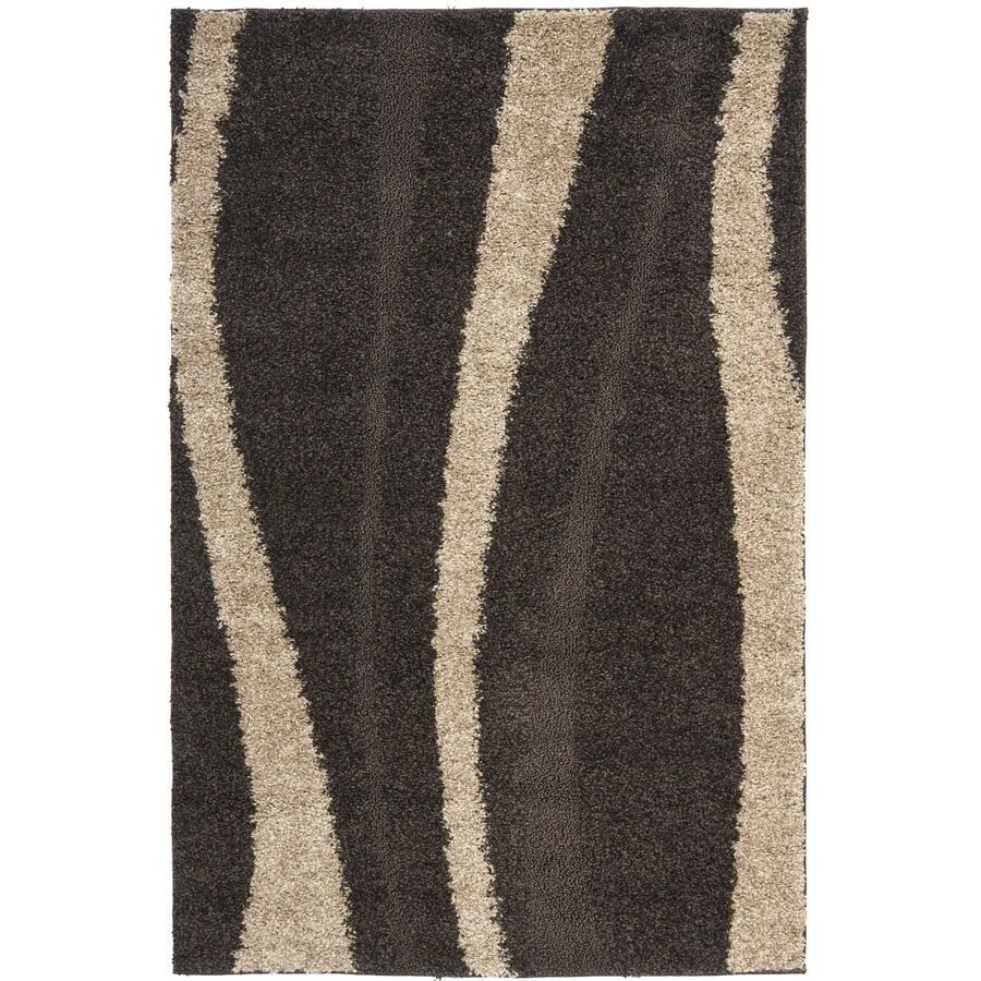 Safavieh Willow Shag Dark Brown/Beige Rectangular Indoor Machine-Made Throw Rug