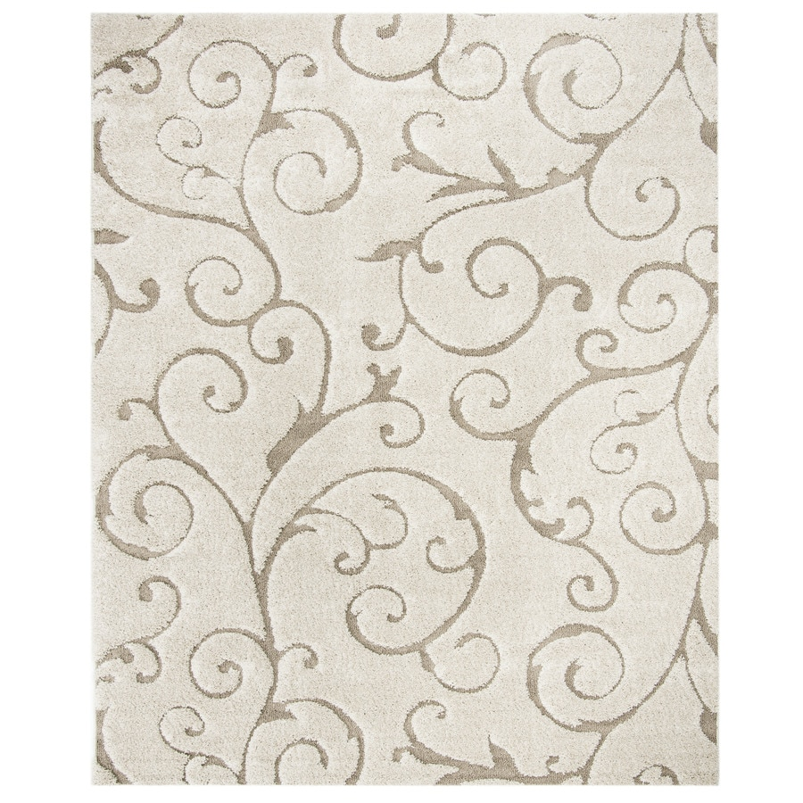 Safavieh Florida Shag Cream and Beige Rectangular Indoor Machine-Made Area Rug (Common: 8 x 10; Actual: 96-in W x 120-in L x 1-ft Dia)