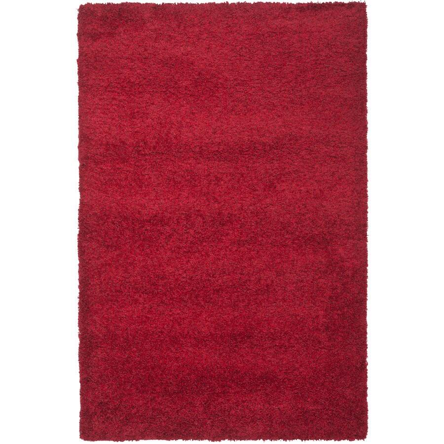 Safavieh California Shag Red Rectangular Indoor Machine-Made Area Rug (Common: 7 x 10; Actual: 79-in W x 114-in L x 0.92-ft Dia)
