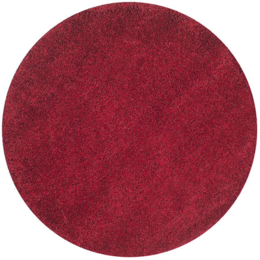 Safavieh California Shag Red Round Indoor Machine-Made Area Rug (Common: 7 x 7; Actual: 79-in W x 79-in L x 0.58-ft Dia)