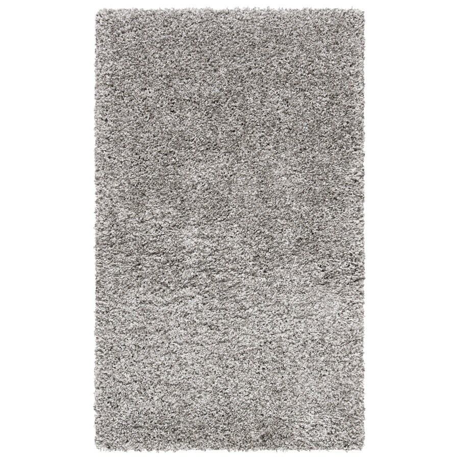 Safavieh California Shag Silver Rectangular Indoor Machine-Made Throw Rug (Common: 3 x 5; Actual: 36-in W x 60-in L x 0.5-ft Dia)