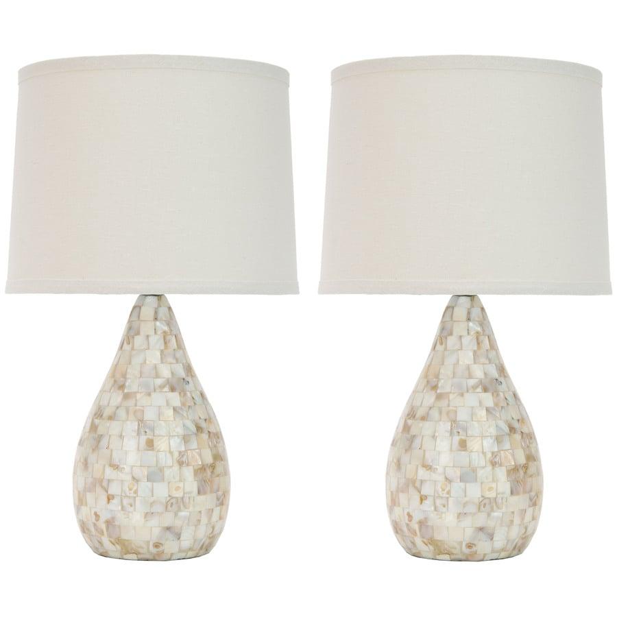 Safavieh 2-Piece White Lamp Set with Fabric Shades