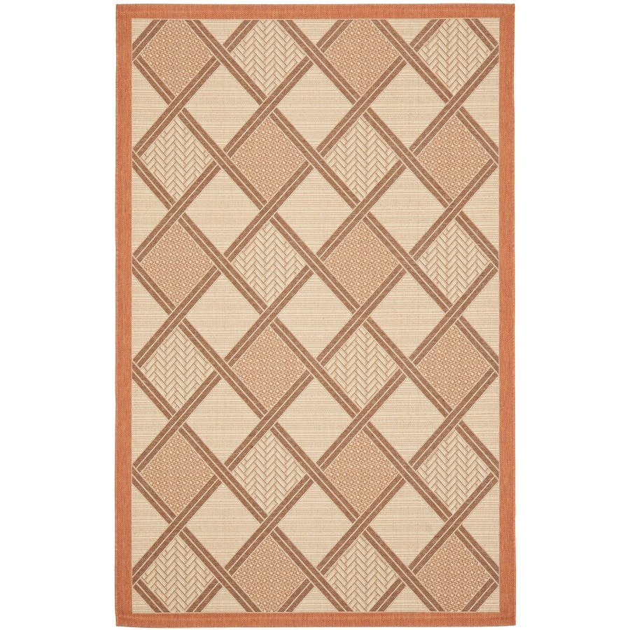 Safavieh Courtyard Cream and Terracotta Rectangular Indoor and Outdoor Machine-Made Area Rug (Common: 6 x 9; Actual: 79-in W x 114-in L x 0.42-ft Dia)