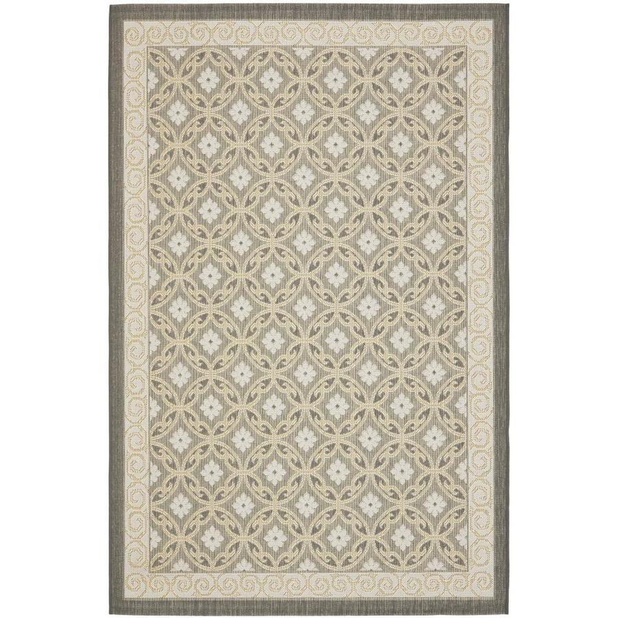 Safavieh Courtyard Anthracite and Light Grey Rectangular Indoor and Outdoor Machine-Made Area Rug (Common: 8 x 10; Actual: 96-in W x 134-in L x 0.58-ft Dia)