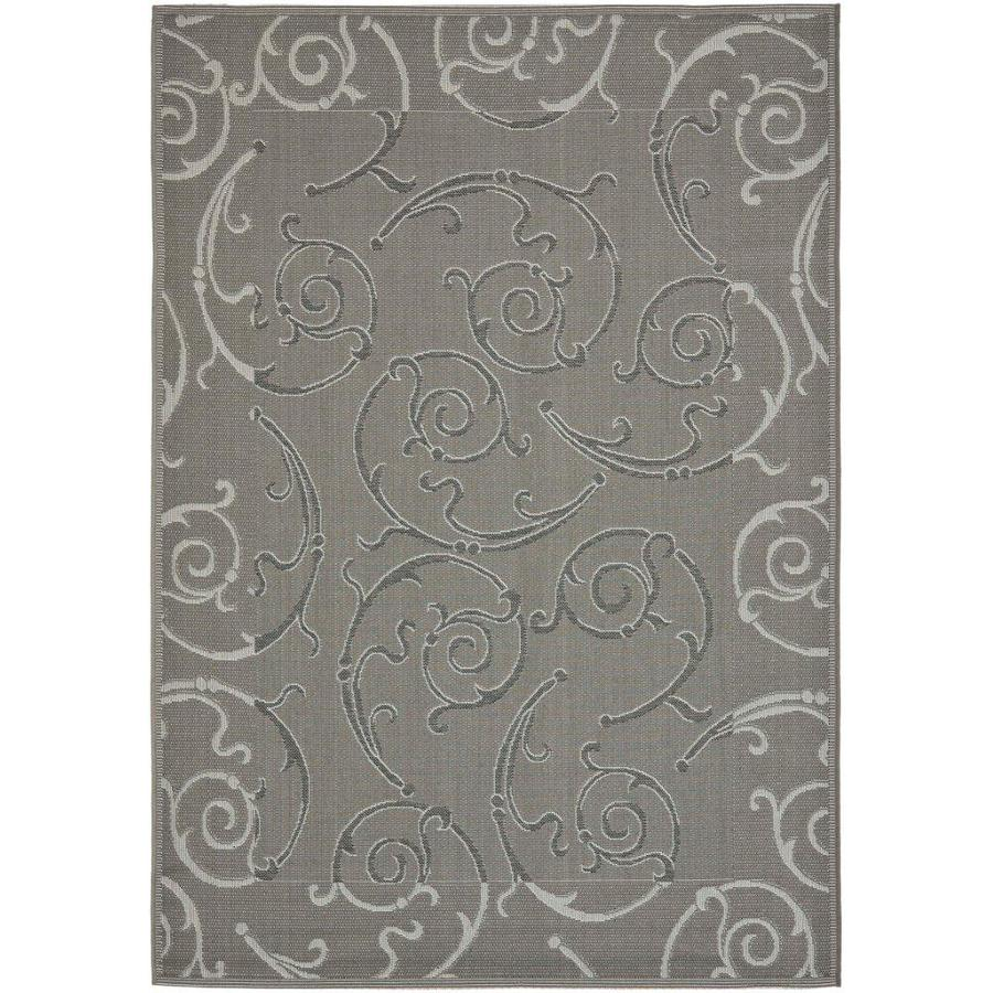 Safavieh Courtyard Rectangular Gray Transitional Indoor/Outdoor Woven Area Rug (Common: 4-ft x 6-ft; Actual: 4-ft x 5.58-ft)