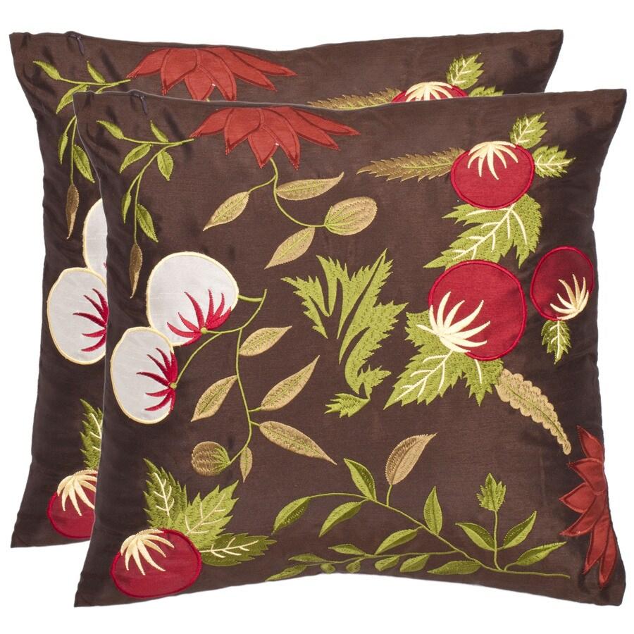 Safavieh 2-Piece 18-in W x 18-in L Multi/Brown Square Indoor Decorative Complete Pillows