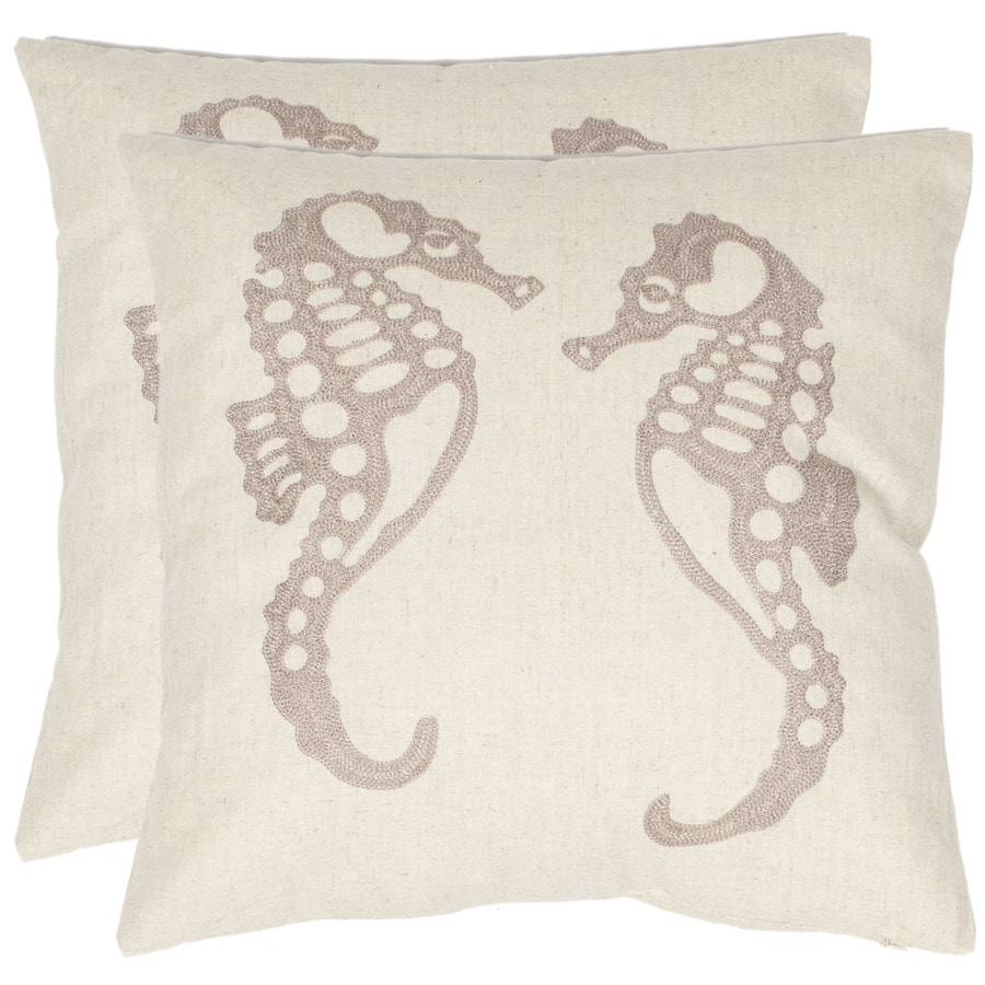 Safavieh 2-Piece 18-in W x 18-in L Ivory Square Indoor Decorative Complete Pillows