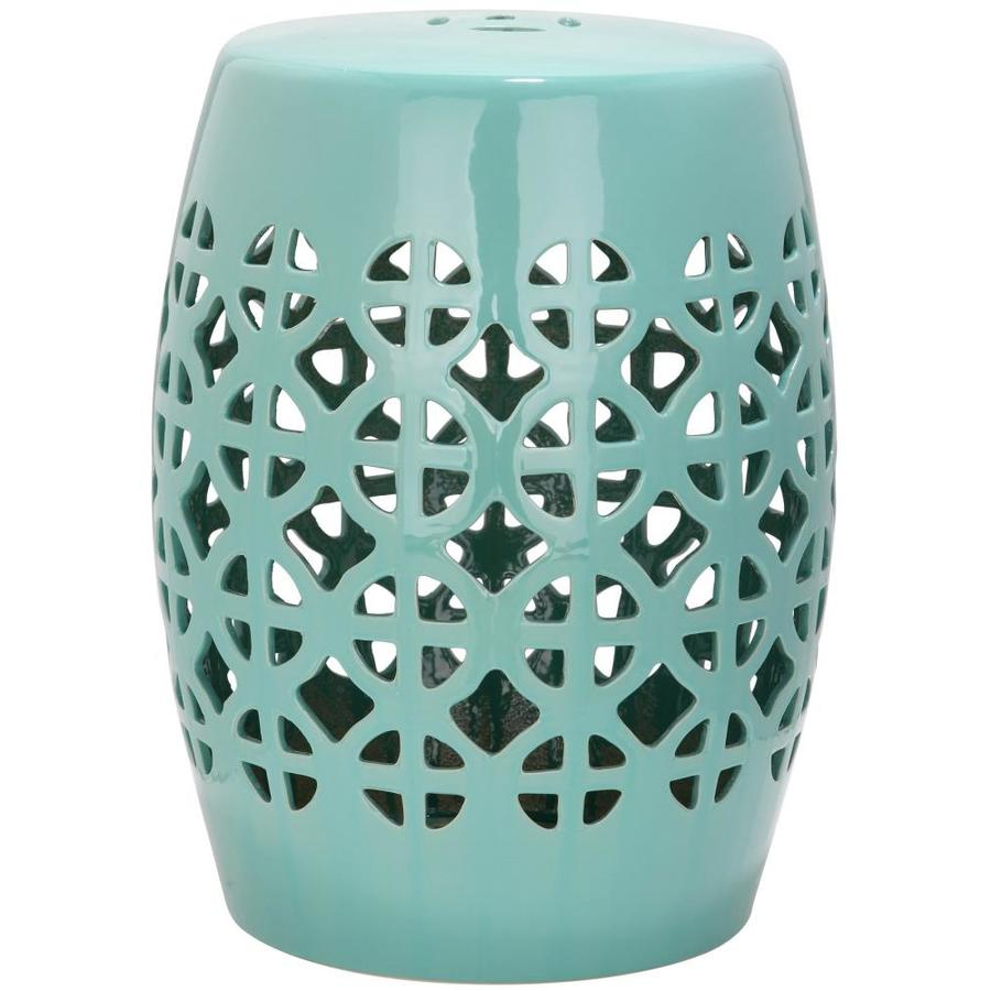 shop safavieh 18 5 in robins egg blue ceramic barrel garden stool at
