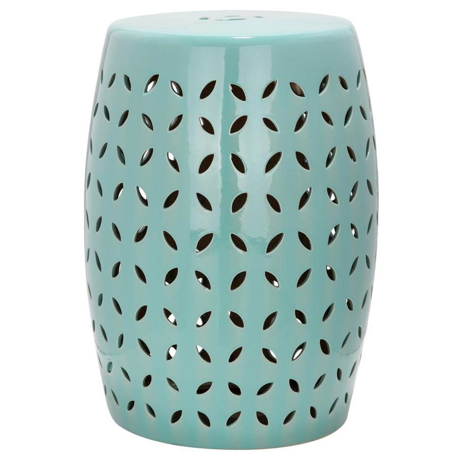 Safavieh 18.5-in Robins Egg Blue Ceramic Barrel Garden Stool
