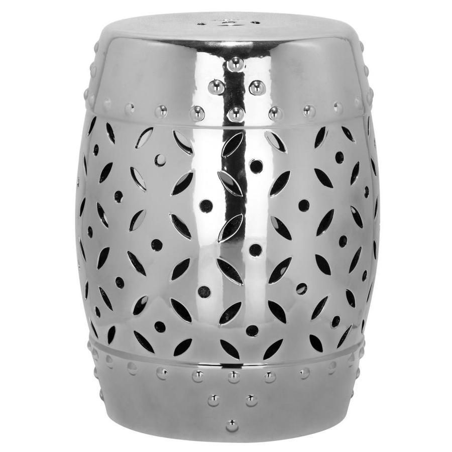 Safavieh 18.5-in Silver Ceramic Barrel Garden Stool