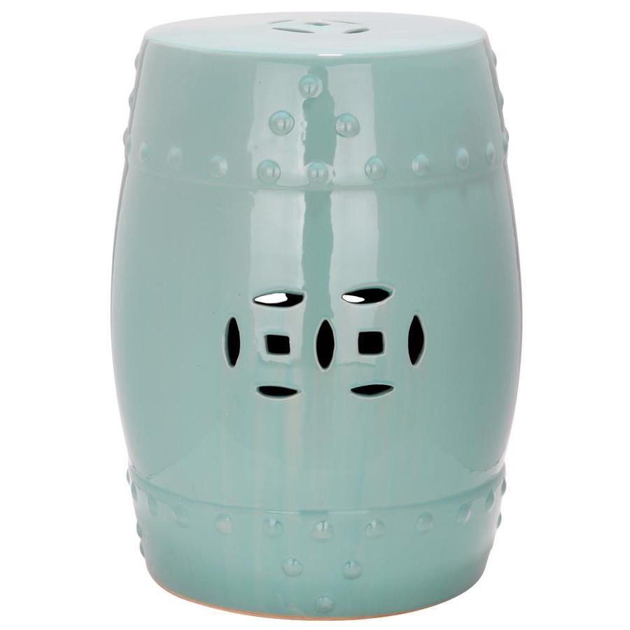 Safavieh 18-in Light Aqua Ceramic Barrel Garden Stool