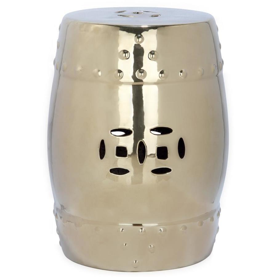 Safavieh 18-in Gold Ceramic Barrel Garden Stool