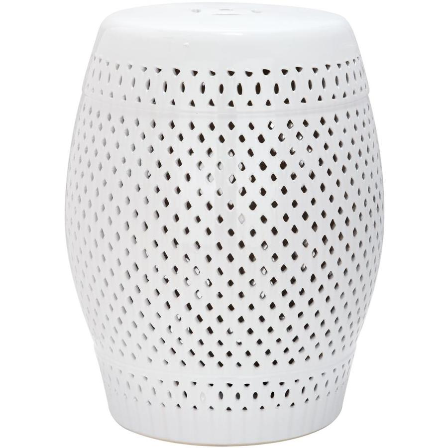 Safavieh 18.5-in White Ceramic Barrel Garden Stool