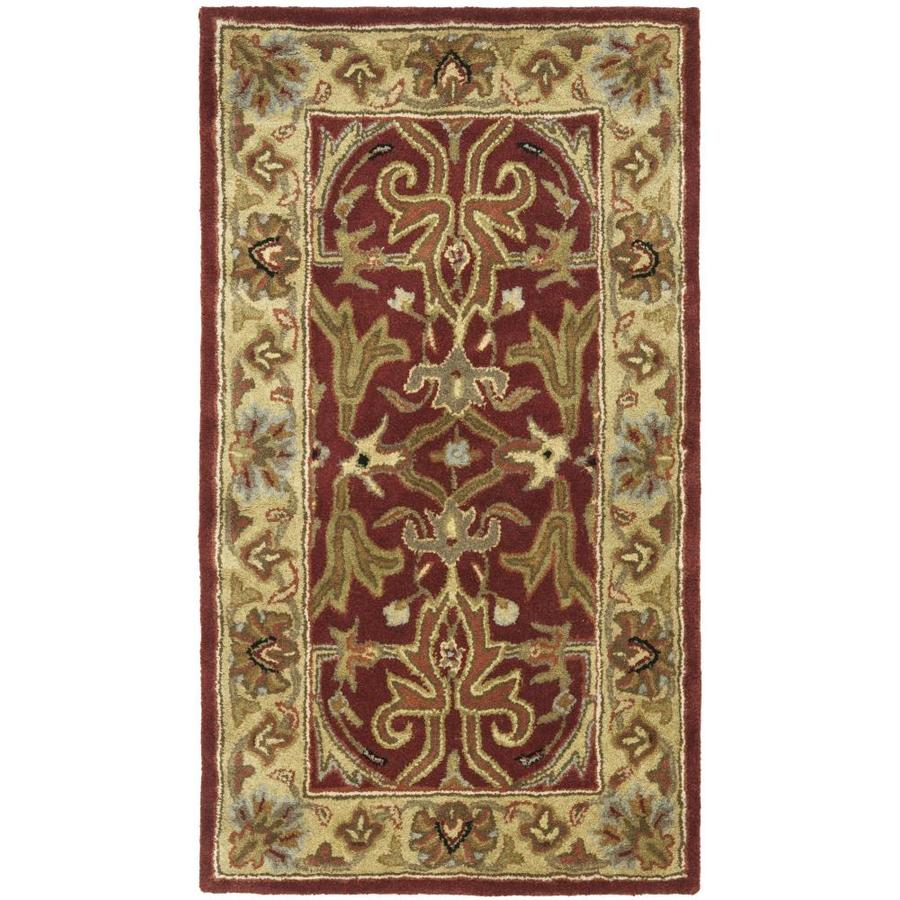 Safavieh Heritage Red and Gold Rectangular Indoor Tufted Throw Rug (Common: 2 x 4; Actual: 27-in W x 48-in L x 0.33-ft Dia)