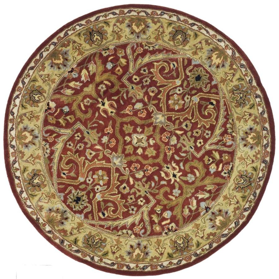 Safavieh Heritage Red and Gold Round Indoor Tufted Area Rug (Common: 4 x 4; Actual: 42-in W x 42-in L x 0.33-ft Dia)