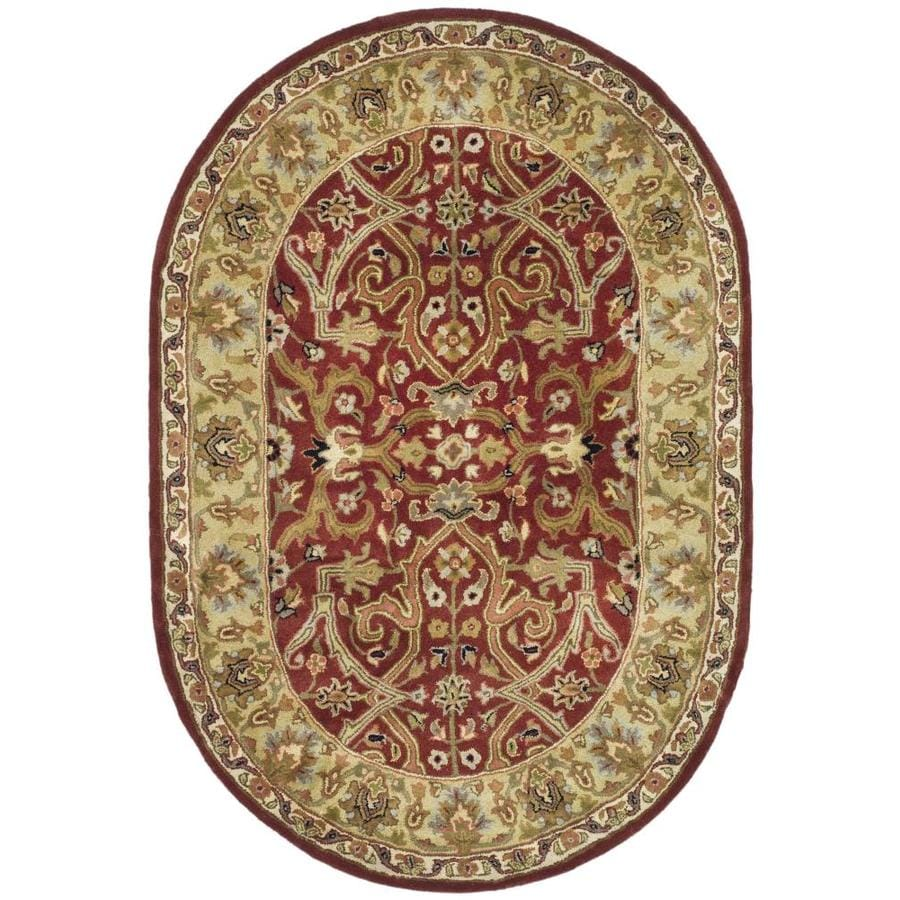 Safavieh Heritage Red and Gold Oval Indoor Tufted Area Rug (Common: 8 x 10; Actual: 90-in W x 114-in L x 0.67-ft Dia)