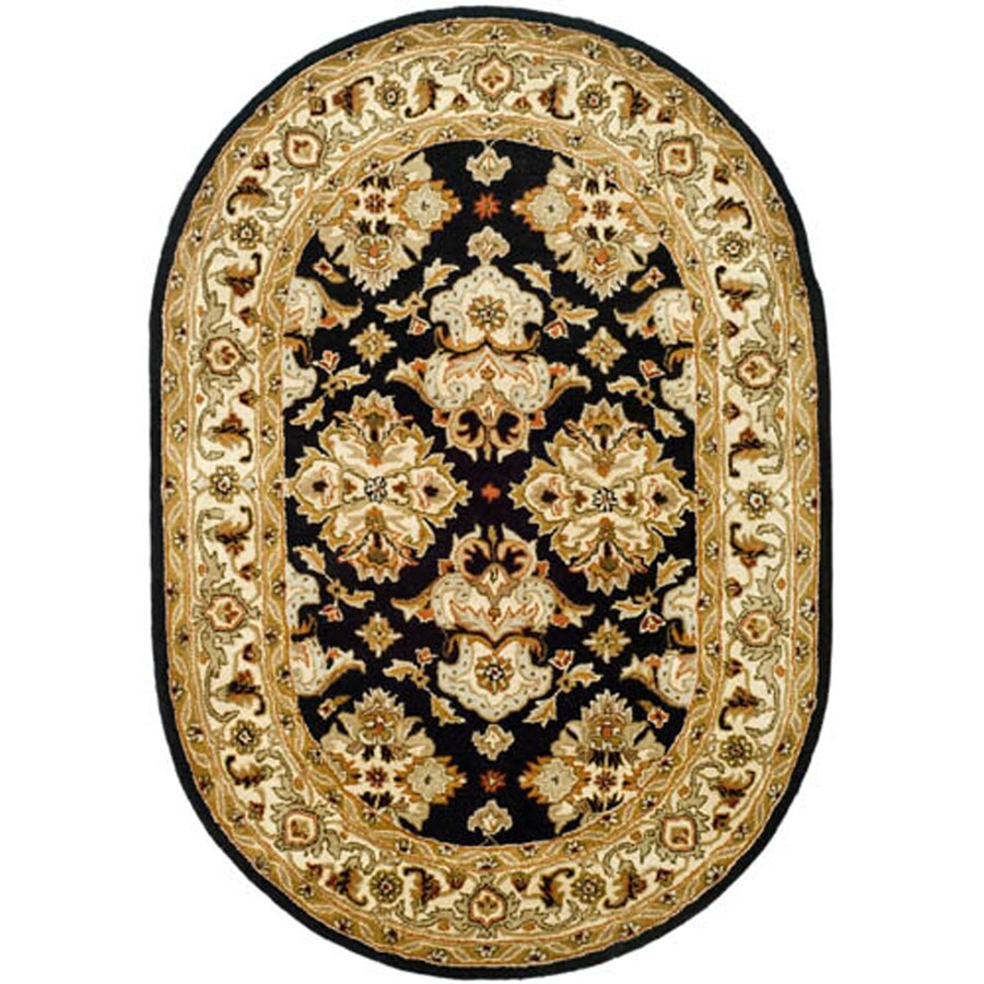 Safavieh Heritage Oval Black Transitional Tufted Wool Area Rug (Common: 8-ft x 10-ft; Actual: 7.5-ft x 9.5-ft)