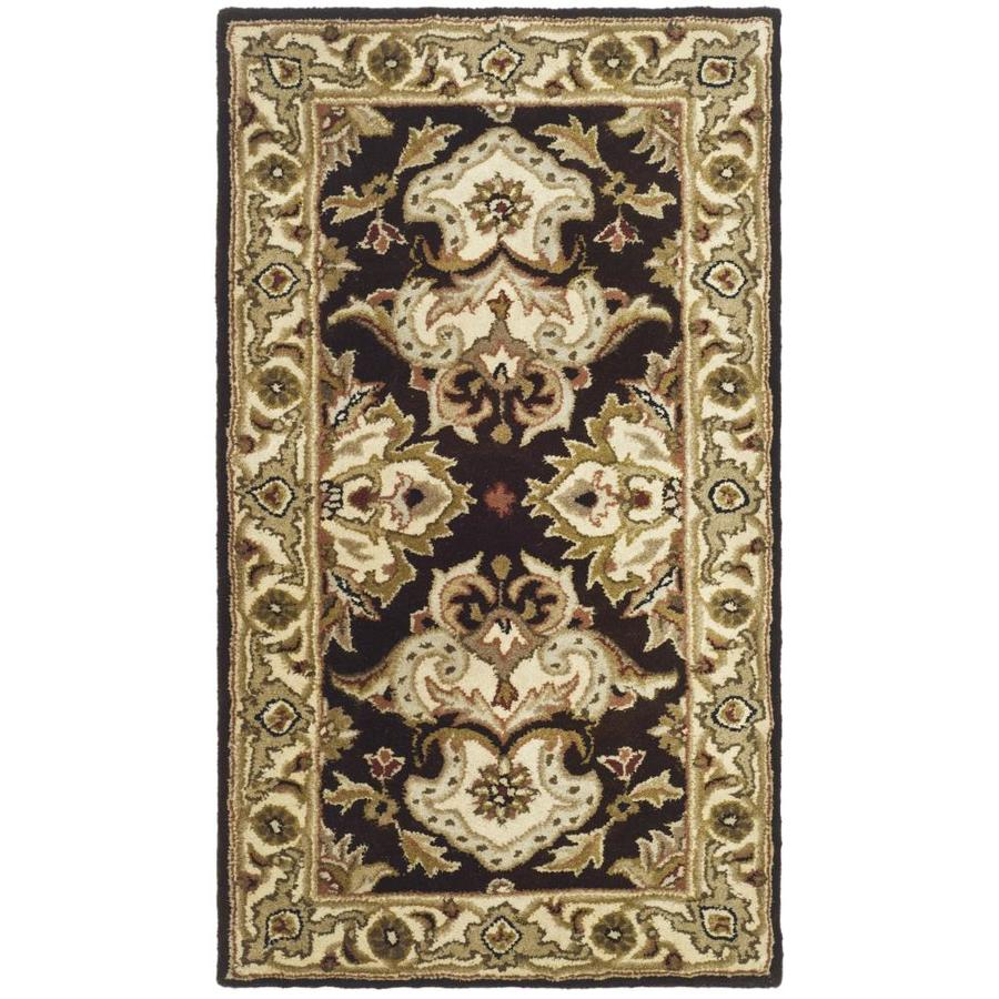 Safavieh Heritage Espresso and Ivory Rectangular Indoor Tufted Throw Rug (Common: 2 x 4; Actual: 27-in W x 48-in L x 0.33-ft Dia)