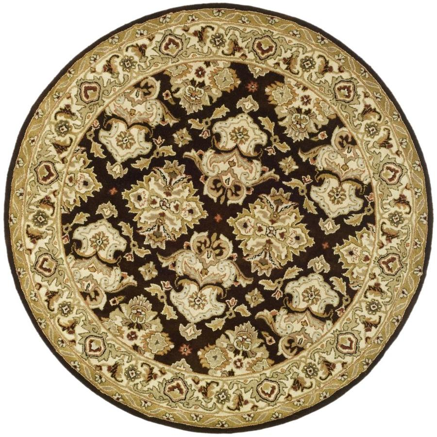Safavieh Heritage Espresso and Ivory Round Indoor Tufted Area Rug (Common: 4 x 4; Actual: 42-in W x 42-in L x 0.33-ft Dia)
