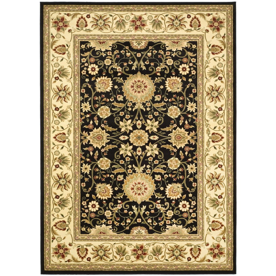 Safavieh Kashan Black and Ivory Rectangular Indoor Machine-Made Area Rug (Common: 6 x 9; Actual: 72-in W x 96-in L x 0.58-ft Dia)