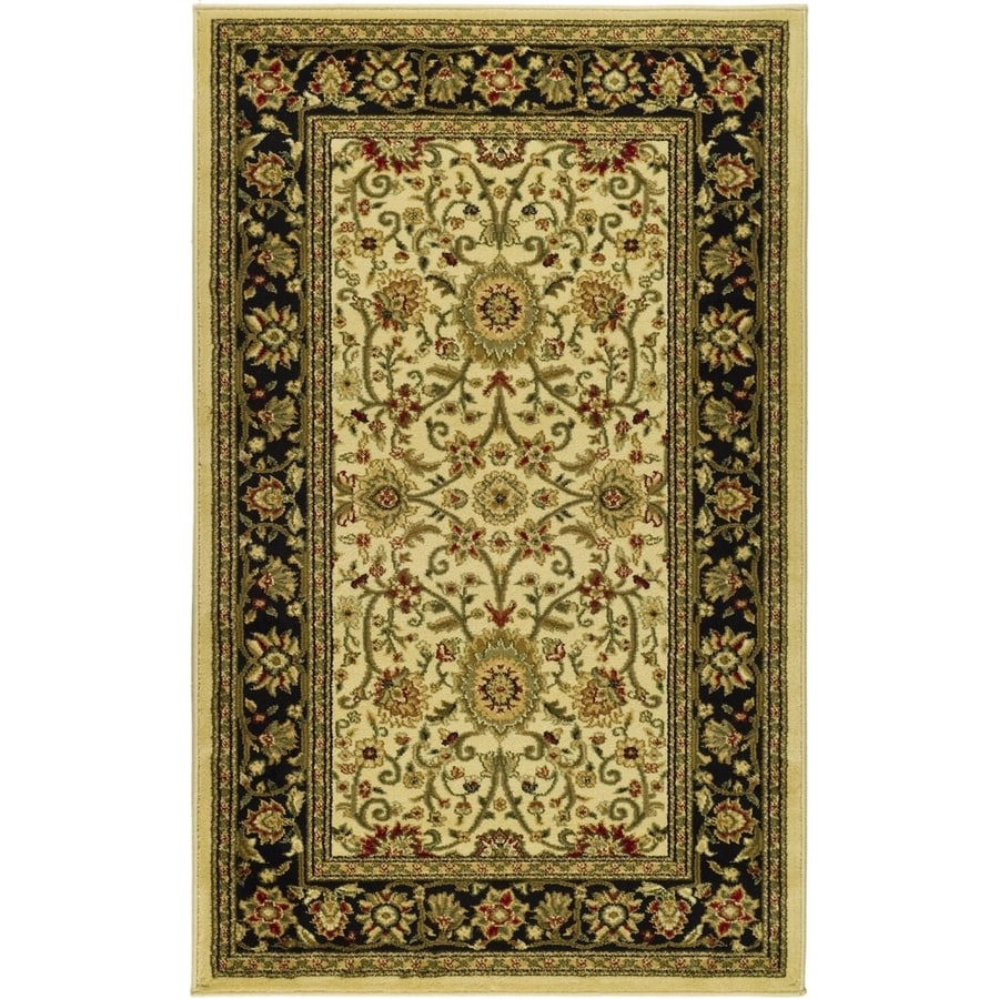 Safavieh Lyndhurst Ivory and Black Rectangular Indoor Machine-Made Throw Rug (Common: 3 x 5; Actual: 39-in W x 63-in L x 0.42-ft Dia)