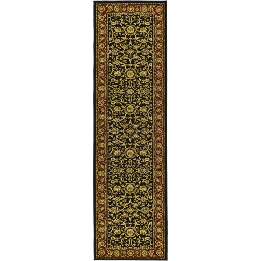 Safavieh Lyndhurst Black and Red Rectangular Indoor Machine-Made Runner (Common: 2 x 16; Actual: 27-in W x 192-in L x 0.5-ft Dia)