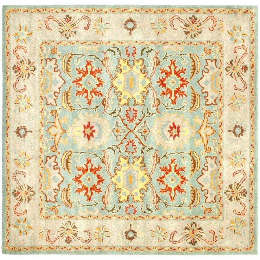 Safavieh Heritage Light Blue and Ivory Square Indoor Tufted Area Rug (Common: 8 x 8; Actual: 96-in W x 96-in L x 0.58-ft Dia)