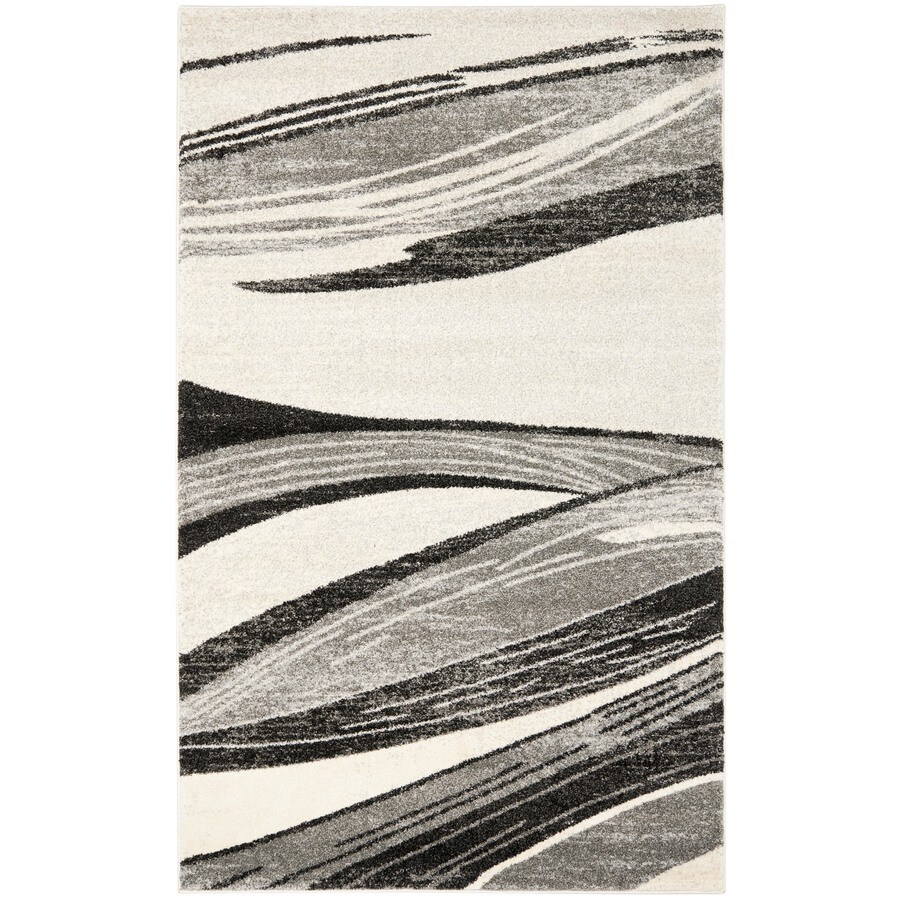 Safavieh Retro Light Grey and Ivory Rectangular Indoor Machine-Made Area Rug (Common: 8 x 10; Actual: 96-in W x 120-in L x 0.58-ft Dia)