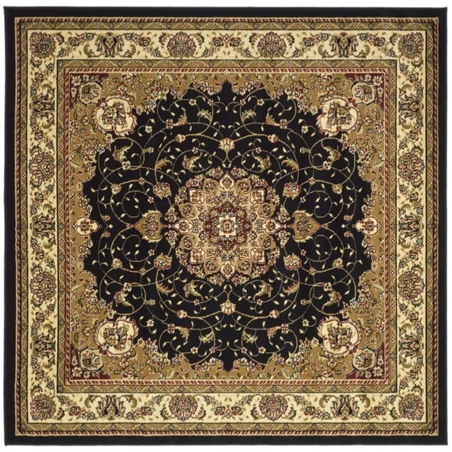 Safavieh Lyndhurst Black and Ivory Square Indoor Machine-Made Area Rug (Common: 7 x 7; Actual: 84-in W x 84-in L x 0.58-ft Dia)