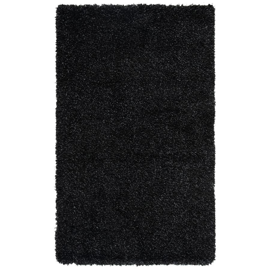 Safavieh Shag Black Rectangular Indoor Machine-Made Throw Rug (Common: 3 x 5; Actual: 36-in W x 60-in L x 0.5-ft Dia)