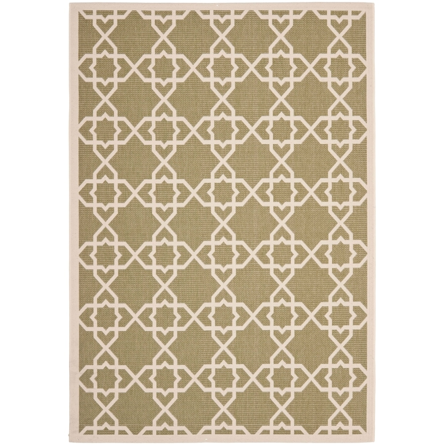 Safavieh Courtyard Green and Beige Rectangular Indoor and Outdoor Machine-Made Area Rug (Common: 4 x 6; Actual: 48-in W x 67-in L x 0.33-ft Dia)