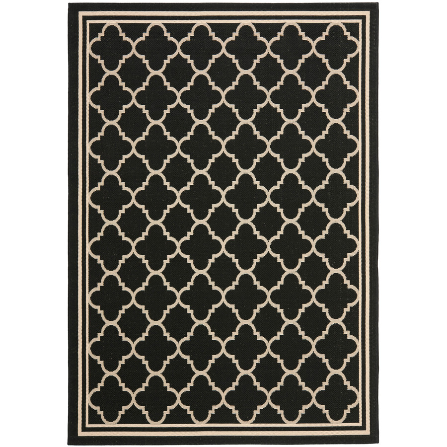 Safavieh Courtyard 4-ft x 5-ft 7-in Rectangular Black Transitional Indoor/Outdoor Area Rug