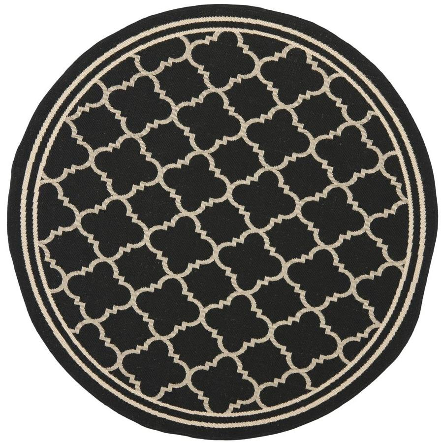 Safavieh Courtyard Black and Beige Round Indoor and Outdoor Machine-Made Area Rug (Common: 5 x 5; Actual: 63-in W x 63-in L x 0.33-ft Dia)